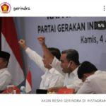 Prabowo Pimpin Kembali Partai Gerindra Periode  2020 - 2025